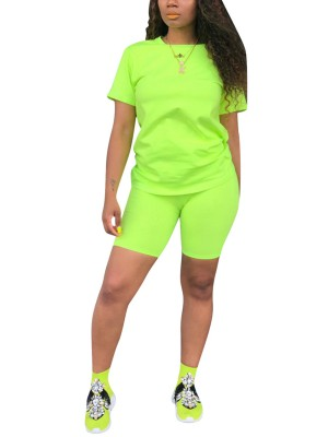 Fad Green Plain 2pcs Sports Top And Tight Shorts Stretchy