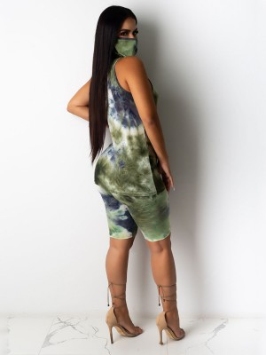 Flattering Dark Green Rounded Hem Vest High Waist Pants Ultra Sleek