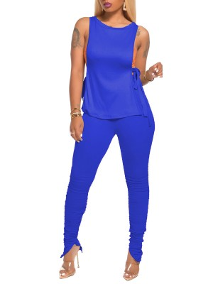 Super Sleek Dark Blue Tank Shirt Side Slit Ruched Pants Women's Outfit