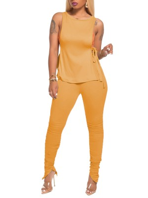 Glamorous Earth-Yellow Women Set Tie Irregular Trouser Legs Womens Apparel