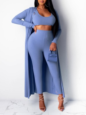 Stylish Light Blue Cardigan With Pants High Rise 3-Piece For Women