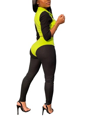 Fresh Green 3/4 Sleeve High Waist Legging 2 Pieces Natural Outfit