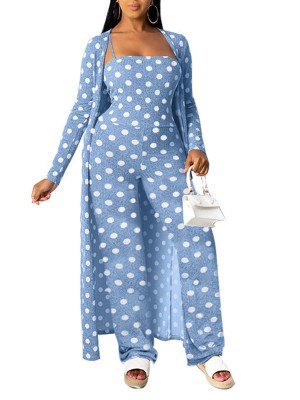 Catching Blue Jumpsuit And Cardigan Set Dot Printed For Sauntering