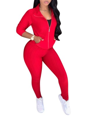 Sweat Suit Pockets Red High Waist With Zipper Comfort Fabric