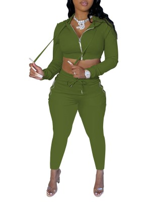 Green Drawstring Women Suit Ankle Length Zipper Outfit
