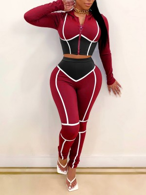 Red Cropped Zip Hood Top Colorblock Pants Set New Fashion