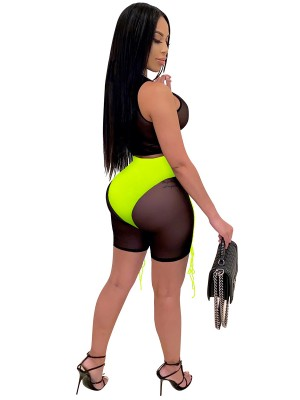 Women Sets Fluorescent Green Contrast Color Drawstring Mesh Quality Assured