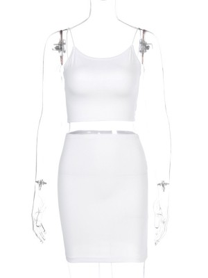 White Spaghetti Strap High Stretch Women Suit For Strolling