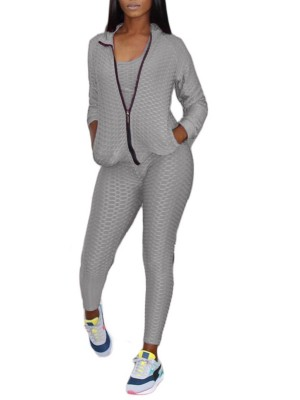 Side Pockets Sweat Suit Jacquard Weave Gray Slim Fit