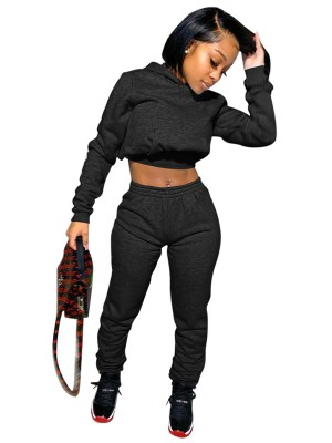 Black Hooded Neck High Waist 2-Piece Outfits Trendy Clothes