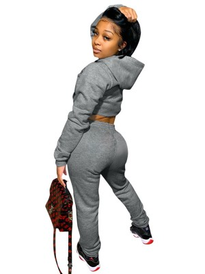 Light Gray Hooded Two-Piece Outfits Elastic Waistband New Fashion