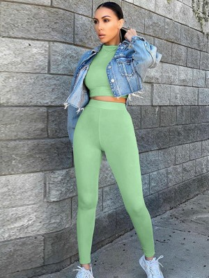 Green Full Sleeve High Rise Sweat Suit Great Quality