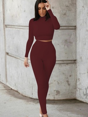 Wine Red Solid Color Women Suit High Waist For Hanging Out