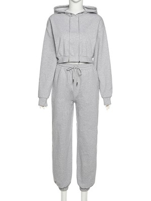 Gray Drop Shoulder Two-Piece Outfit Hooded Neck Sexy Ladies