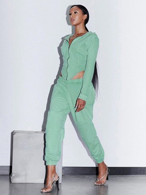 Green Front Zipper Two-Piece Outfit Elastic Ankle Cheap Online