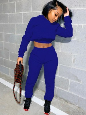 Blue High Waist Solid Color Women Suit Street Style