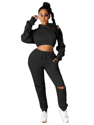 Black Hooded Neck Cold Shoulder Women Suit Elasticity