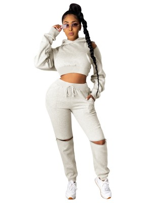Creamy-White 2-Piece Outfits Long Sleeve Ankle Length Loose Fit