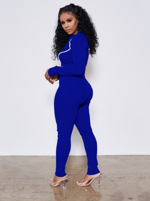 Blue Reflective 2-Piece Outfits With Zipping On-Trend Fashion