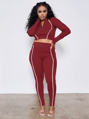 Wine Red Reflective Zip Neckline Two Piece Outfits Fashion Tee