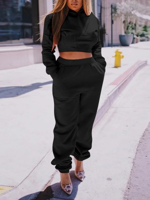 Black Lace-Up Hoodie High Waist Pants For Streetshots