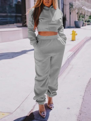 Gray Solid Color Side Pockets Women Suit Women's Fashion