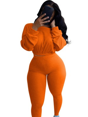 Orange Full Length Boat Neck Women Set Fashion Design