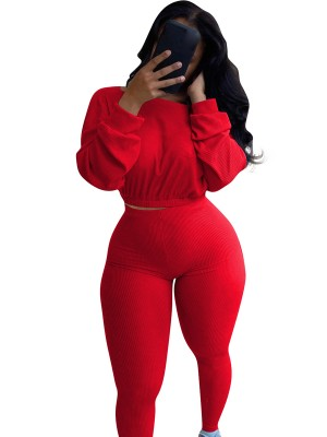 Red Boat Neck Bishop Sleeve Women Set Luscious Curvy