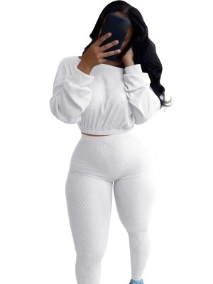White Rib Cropped Shirt High Rise Leggings Comfortable