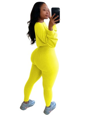 Yellow Full Sleeve Shirt Ankle Length Leggings Womens Trendy Clothes