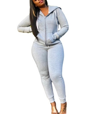 Gray 2 Piece Outfit Drawstring High Waist Women's Clothing