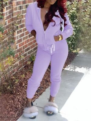 Purple Zipper Hoodie High Waist Drawstring Pants For Hiking