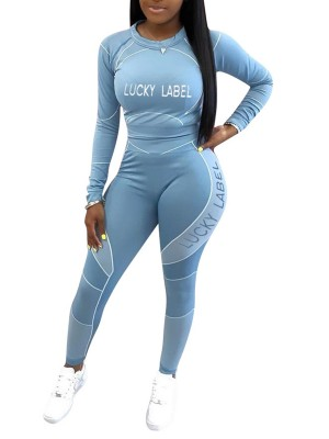 Blue Long Sleeve Contrast Color Sweat Suit Forward Women