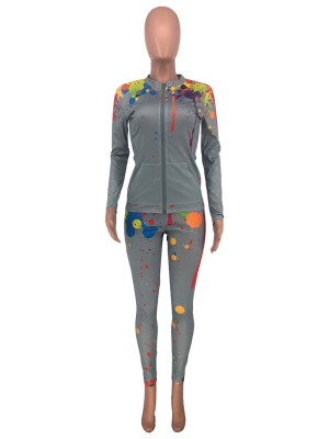 Gray Stand-Up Neck Jacket High Rise Leggings Female Charm