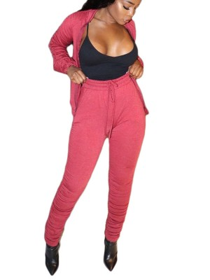 Pink Sweat Suit Drawstring Zipper Side Pockets Soft-Touch