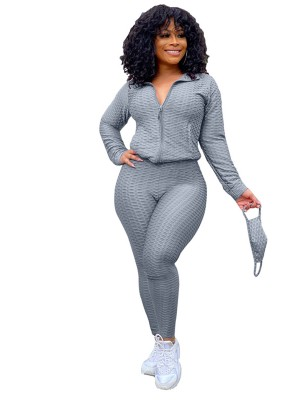Gray Ankle Length With Mask Women Suit Casual Wear