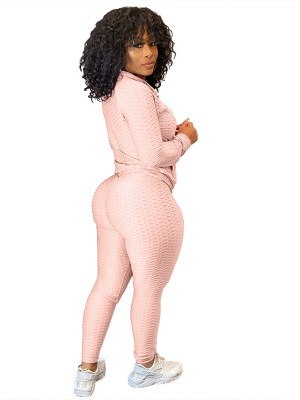 Pink Sweat Suit Full Sleeve High Waist Leisure Wear