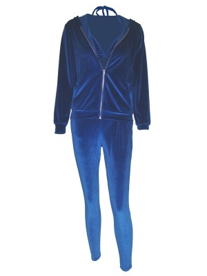 Blue Hood Zipper 3 Pieces Outfit With Pockets Natural Women