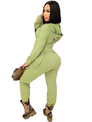 Army Green Hooded Collar High Waist Women Suit Weekend Time