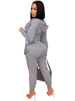 Gray Strap Zipper Full Length Women Set Trend For Women