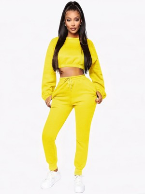 High Waist Yellow Plush Women Suit Pockets Women's Apparel