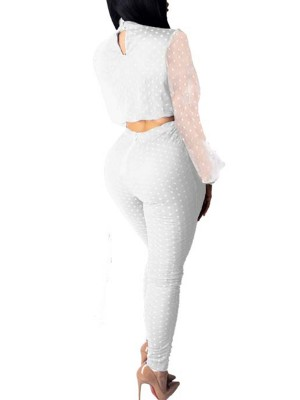 Flirtatious White Lantern Sleeve Top High Rise Pants Weekend
