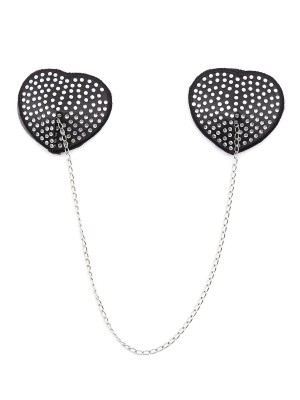 Tempting White Heart-Shaped Metal Chain Pasties Bra Ideal Choice