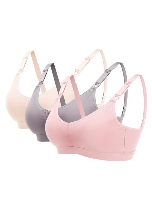 Latest 3 Pieces Lace Wireless Nursing Bras Slim Ladies
