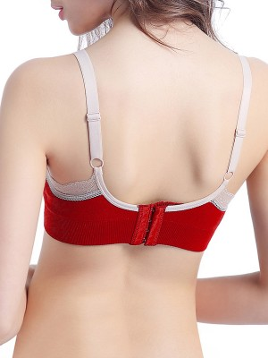 Intimate Red Contrast Color Slender Strap Nursing Bra Allover Slim
