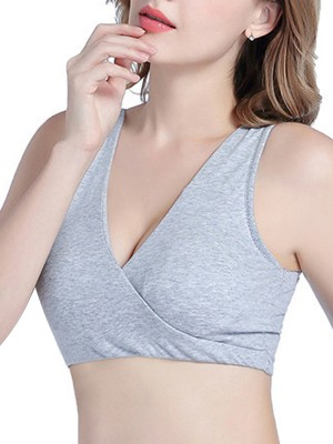 Staple Light Gray Solid Color Maternity Bra Foam Cups For Mature Female