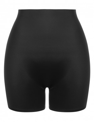 Stunning Black Compressed Abdomen Butt Enhancer shorts Plain Firm Control