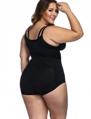 Black Body Shaper Bodysuit Plus Size With Zipper Cami Straps Slim Waist