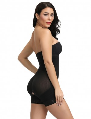 Black Hook Front Plus Size High Waist Body Shaper Tummy Control