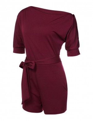 Wine Red Smooth High Waist Romper Off The Shoulder Half Sleeve
